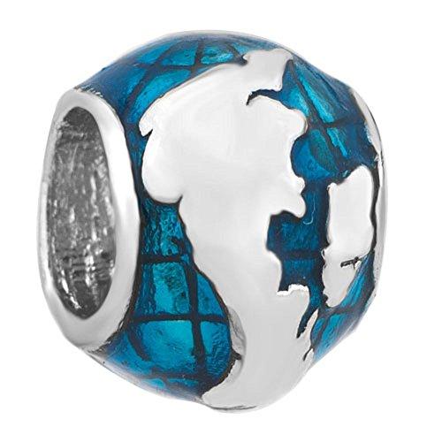 Uniqueen, ciondolo per braccialetto a forma sferica che rappresenta il mondo e il regno unito, compatibile con i bracciali modello charm