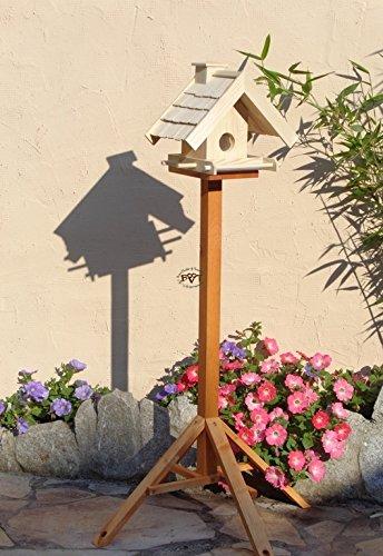 Vogelhaus + XXL- FUTTERSILO,K-VOWA3-natur002 Großes Vogelhäuschen + 5 SITZSTANGEN, KOMPLETT mit Futtersilo + SICHTGLAS für Vorrat PREMIUM-Qualität,Vogelhaus,- ideal zur WANDBESTIGUNG – Futterhaus, Futterhäuschen WETTERFEST, QUALITÄTS-SCHREINERARBEIT-aus 100% Vollholz, Holz Futterhaus für Vögel, MIT FUTTERSCHACHT Futtervorrat, Vogelfutter-Station Farbe natur, Ausführung Naturholz MIT TIEFEM WETTERSCHUTZ-DACH für trockenes Futter - 5