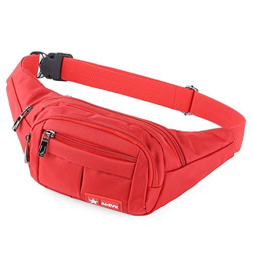AirZyx Wasserdichte Bauchtasche Geeignet für Reise, Sport & alle Outdoor Aktivitäten, Hüfttasche für Damen und Herren, Bauchtasche Wasserdicht Hüfttaschen für Running (Rot)