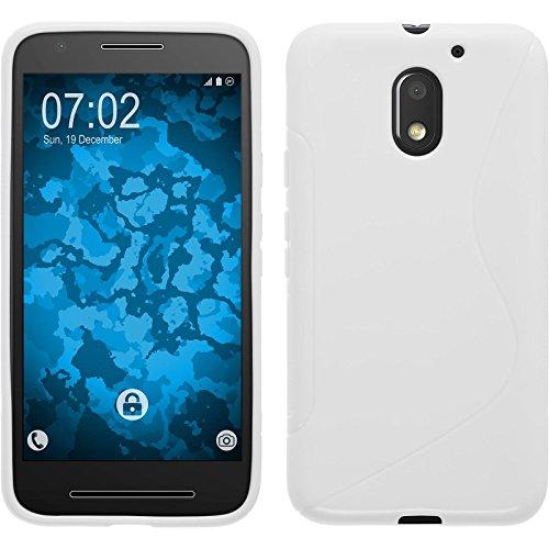 PhoneNatic Case kompatibel mit Lenovo Moto E3 - weiß Silikon Hülle S-Style + 2 Schutzfolien
