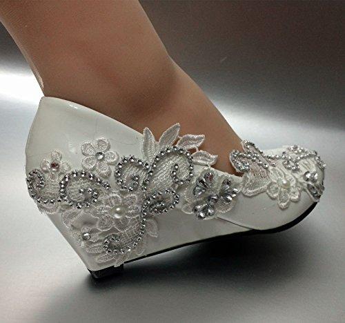JINGXINSTORE 5 cm Keil weiß Elfenbein Spitze kristall Hochzeit Braut Schuhe High Heels Pumps Größe US 8,5 cm/2 Zoll Ferse, Weiß (Weiß Ferse Schuhe)
