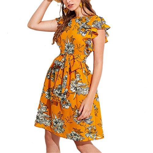 Jianyin Flutter Sleeve selbst Gürtel Blumenkleid Sommer Schmetterling Flügelärmeln Urlaub Kleidung Frauen Strand Rüschen Kleid Multi L (Flutter Dress Sleeve Floral)