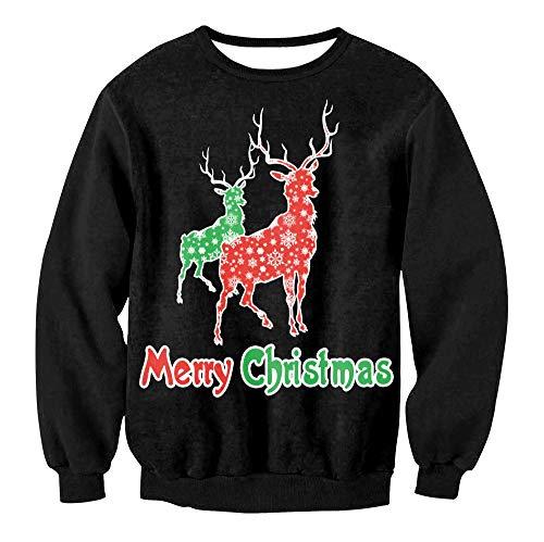 Binglin Unisex Hässliche Weihnachten Sweatshirt Urlaub Santa Lustige Damen Männer Casual Sweatshirt Langarm Hoodies Plus Size-SWYS008, XL