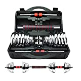 York Chrome Dumbbell Set With Connecting Rod 30 Kg - Silver Red