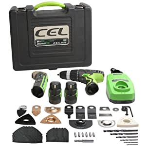CEL I-CP01 Ensemble Perceuse-Visseuse et Outil oscillant Multi2Pro et +IonDrill avec 2 batteries Li-Ion, Nombreux accessoires, Chargeur rapide et Mallette empilable