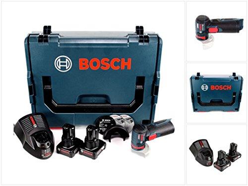 Bosch GWS 12V-76 Professional Akku Winkelschleifer in L-Boxx mit 2 x GBA 6,0 Ah Akku + 1 x GAL 1230 Ladegerät