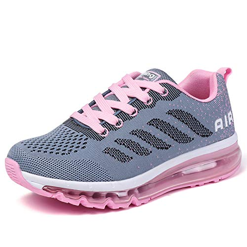 smarten Sportschuhe Herren Damen Laufschuhe Unisex Turnschuhe Air Atmungsaktiv Running Schuhe mit Luftpolster Grey Pink 41 EU