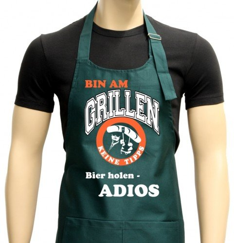 Allemand Bin am Grillen – keine Tipps – Bière holen – Macho Tablier de barbecue – Griller – Barbecue Tablier Vert foncé