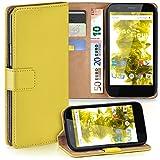 moex Motorola Moto G | Hülle Gelb mit Karten-Fach 360° Book Klapp-Hülle Handytasche Kunst-Leder Handyhülle für Motorola Moto G 1. Generation Case Flip Cover Schutzhülle Tasche