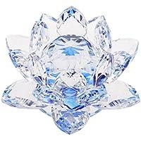 Homyl Mini Modelo Ornamento de Feng Shui de Budista Flor de Loto de Cristal Decoración de Casa Oficina - Azul
