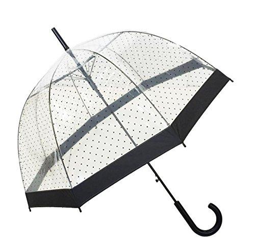 Ombrello lungo da donna, cupola trasparente, apertura automatica (Donna)