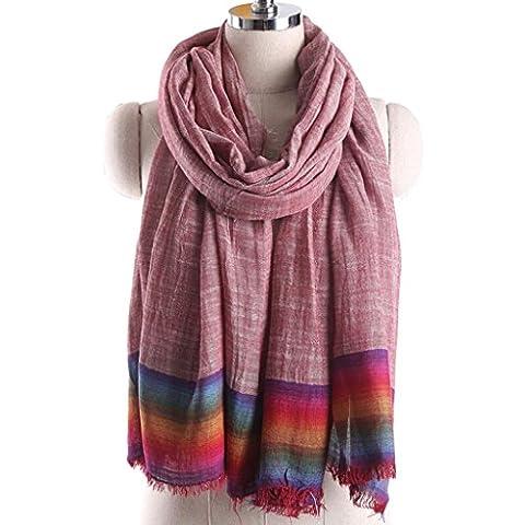 XY-Primavera e autunno strisce arcobaleno retrò signora nappa sciarpa scialle in cotone - Arcobaleno Classico Filato