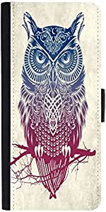 Snoogg Owl Paint Graphic Snap On Hard Back Leather + Pc Flip Cover Samsung Ga...