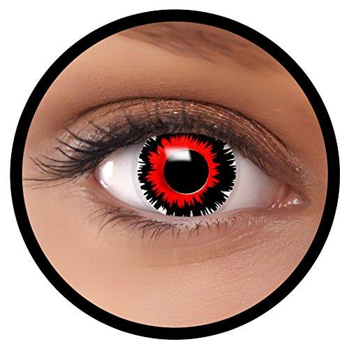 FXEYEZ® Farbige Kontaktlinsen rot Brain Shock + Linsenbehälter, weich, ohne Stärke als 2er Pack - angenehm zu tragen und perfekt zu Halloween, Karneval, Fasching oder Fasnacht