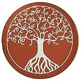 Coussin Maylow Yoga mit Herz - Pour le yoga et la méditation - Décoré avec un arbre de vie brodé - 33x 15cm - Rempli avec de la vannure d'épeautre - Housse et coutil 100 % coton, terra-weiß, 15...
