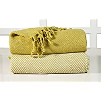 EHC nbsp;–Manta para sof&aacute, algodón de lujo, rayas Chevron, 2unidades, 125x 150cm, color amarillo