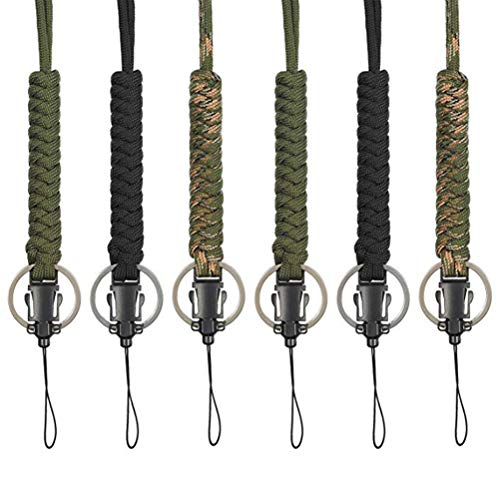 BESPORTBLE 6 stücke Paracord Lanyard Keychain Utility Halskette Seil Schnur Handschlaufe Fallschirm Handy Kamera ID Halter für Outdoor Wandern Camping (jeweils 2 von Schwarz, Armee Grün, Camouflage) -