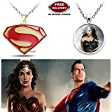 (2 Pcs COMBO SET) - SUPERMAN ( GOLD PLATED ) & WONDER WOMAN (SILVER) 3D GLASS DOME IMPORTED PENDANTS WITH CHAIN. LADY HAWK DESIGNER SERIES 2018. ❤ ALSO CHECK FOR LATEST ARRIVALS - NOW ON SALE IN AMAZON - RINGS - KEYCHAINS - NECKLACE - BRACELET