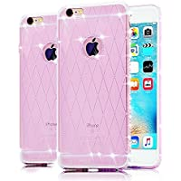 iPhone 5 TPU Custodia , Cover iPhone 5S , Bonice Ultra trasparente Crystal Diamante Rhinestone TPU Silicone Gel Morbido Sottile Case Per iPhone 5 5S SE –porpora 1