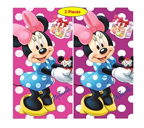 Minnie Disney 2 x Kinder Handtuch/Gesichtstuch 35 x 65 cm Mouse - 100% Baumwolle tolles Geschenk für Mädchen (MS01) (pink lila) (Minnie Maus Handtuch-set)