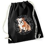 Siviwonder Turnbeutel - Circle - ENGLISH BULLDOG - Watercolor Dogs Baumwoll Tasche Beutel schwarz
