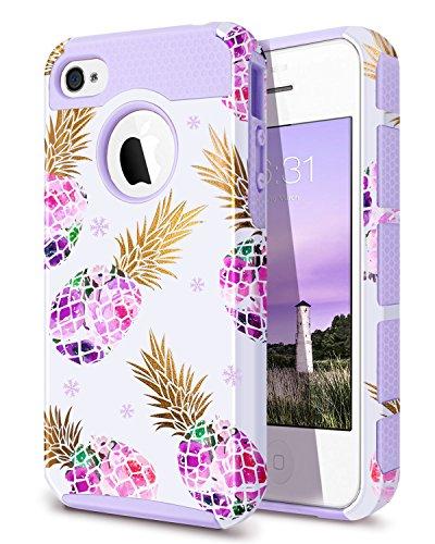 iPhone 4Fall, iPhone 4s Fall Ananas, fingic violett Ananas Case PC & weich Gummi Schutz Hard Case Cover für iPhone 4/4S/4G, Ananas/violett - Frauen Iphone Fall Niedlich 4 Für