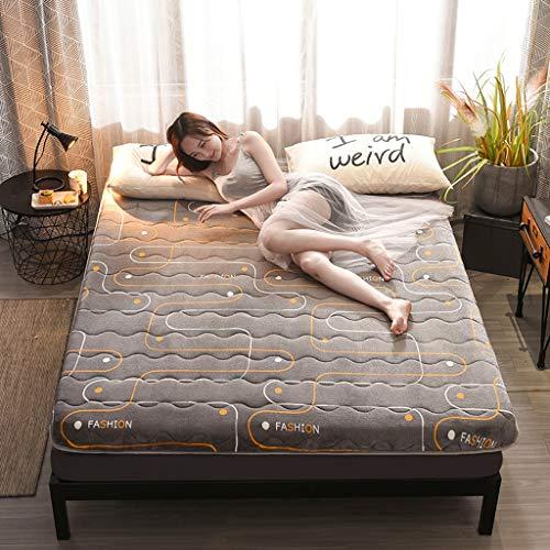 Schlafbodenmatte Flanell Doppelseitige Matratze 10 cm Faltbare Futonmatratze Weiche, Dicke Matratzenauflage for Studentenwohnheime (Color : Life, Size : 1.2×2.0m) -