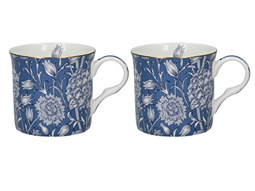 Set of 2 V&A William Morris Wild Tulip Fine Bone China Mugs (Becher) -