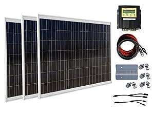 ECO-WORTHY 500W Module solaire 3 Kit Panneau solaire 180W Contrôleur de charge MPPT 20 A Maison Bateau Off Grille Système Solaire de charge pour batterie 24 V