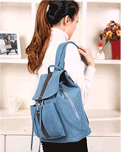 Minetom Damen Schulrucksack Dame Stil Einfarbig Schulranzen Schultasche Rucksack Freizeitrucksack Daypacks Backpack Azurblau