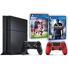Pack PS4 500Go + 2ème manette rouge + Uncharted 4: A Thief's End + Fifa 16