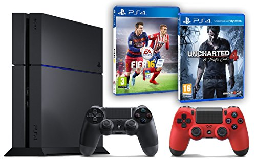 Pack PS4 500Go + 2ème manette rouge + Uncharted 4: A Thief's End + Fifa 16