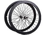 Laufrad Paar 700c Singlespeed Flip-Flop Felgenpaar Aluminium mit schwarzen Reifen (schwarz)