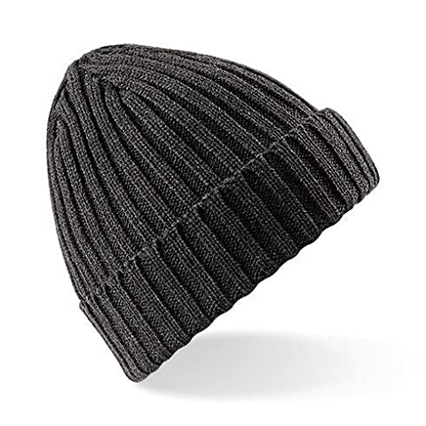 Beechfield Unisex Winter Chunky Ribbed Beanie Hat (One Size) (Charcoal)