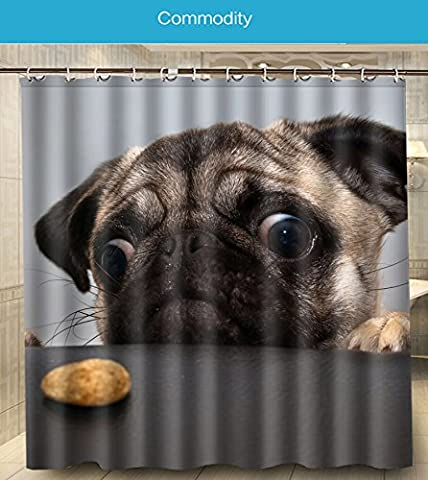 New Fashion Animals Pug Dog My Cute Funny Friend Big Love Printed Size 180cmx180cm 100% Waterproof & Mouldproof Polyester Shower Curtain w180-26