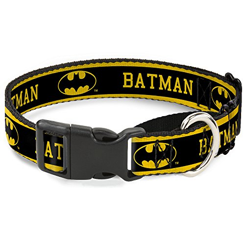 11-s gelb/schwarz Batman Martingale Hundehalsband, 2,5cm Wide-fits 22,9-38,1cm Neck-small ()