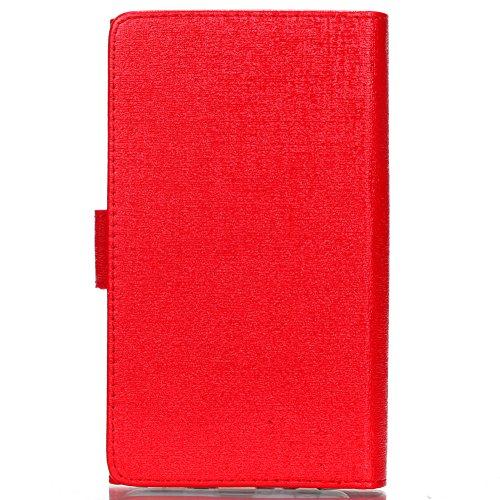 KM-WEN® Schutzhülle für Apple iPhone 7 Plus (5,5 Zoll) Bookstyle Labyrinth Muster Tri-faltbar und TPU Einzeln Verwendet Magnetverschluss PU Leder Flip Cover Hülle Tasche Schutzhülle mit Wallet Case Ka Rot