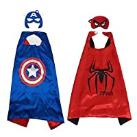 BEYOND MS 2 Pcs Super Hero Toys & Costumes Birthday Party Supplies for Men&Girls, Children Dress Up Costume with Masks and Capes Satin, Cosplay Cloaks for Party Supplies