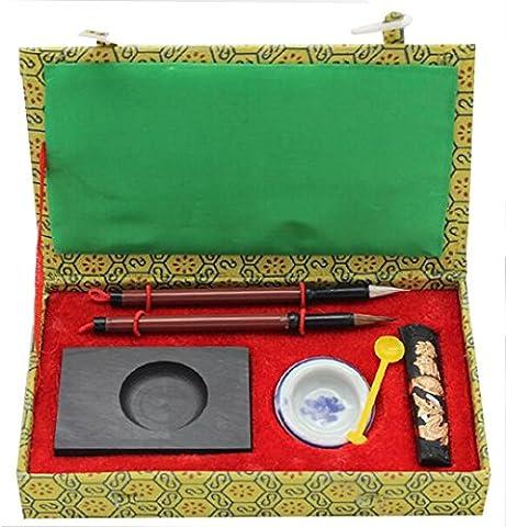 HorBous 7 PCS calligraphie chinoise Inkstone + bol à eau + bâton d'encre + 2 stylos à brosse + encrier + boîte à cadeaux Set pour Enfant Enfant Débutant