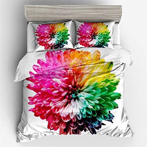 YUNSW Bettwäsche Set Twin Queen King Size Blume Abstrakt Bettbezug Bett Set Home Kissenbezug D 200x200cm - Gelb King-set Bettbezug