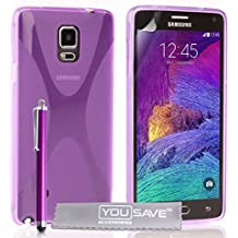 Yousave Accessories x-Line de silicona con lápiz capacitivo para Samsung Galaxy Note 4 - morado