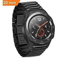 Cinturino Huawei Watch 2, iBazal Huawei Watch 2 Watch Cinturini 20mm Smartwatch Bracciale Cinturino Acciaio Inox per Huawei Watch 2 (non per Huawei Watch) - Classico Nero