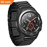 Huawei Watch 2 Armband 20mm Metall, iBazal Huawei Watch 2 Armband 20mm Edelstahl Band Kompatibel Galaxy Watch 42mm/Gear S2 Classic/Gear Sport/TICHWATCH 2/Garmin Vivoactive 3/Vivomove HR Etc. - Schwarz