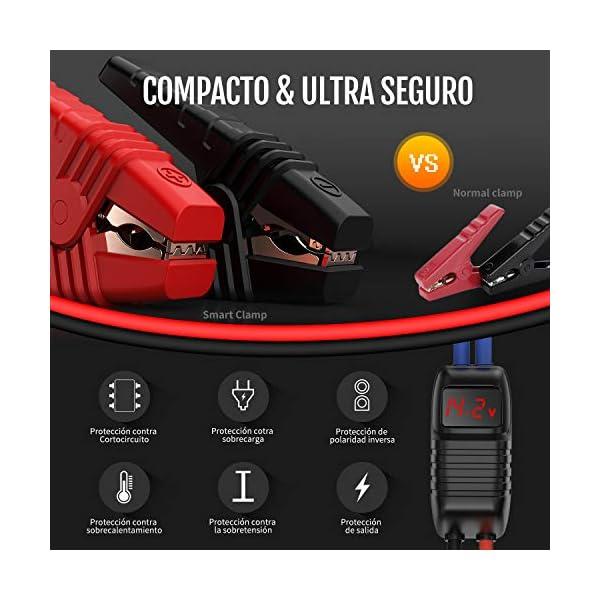 TrekPow G39 1200A Arrancador de Coches, Jump Starter 12V (hasta 5.5L Diésel o 6.5L Gasolina) con Medidor LED, Puerto USB…