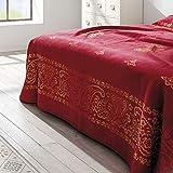 Ibena Bettüberwurf Indore 0998/ Kuscheldecke XXL Orient rot/Tagesdecke 220x260 cm/hochwertige Qualität Verarbeitung mit schicker Bandeinfassung