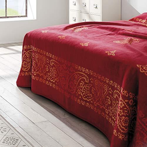 Ibena Bettüberwurf Indore 0998/ Kuscheldecke XXL Orient rot/Tagesdecke 220x260 cm/hochwertige Qualität und Beste Verarbeitung mit schicker Bandeinfassung