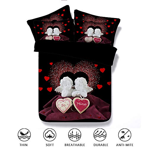Fansu Bettwäsche Set 3 TLG, 3D Romantisch 3 Teilig Babybett Kinder Erwachsene Junge Mädchen Tencel Bettbezug Set Reißverschluss Bettbezug Kissenbezüge Zimmer (200x220cm,Engel) - Creme Seersucker