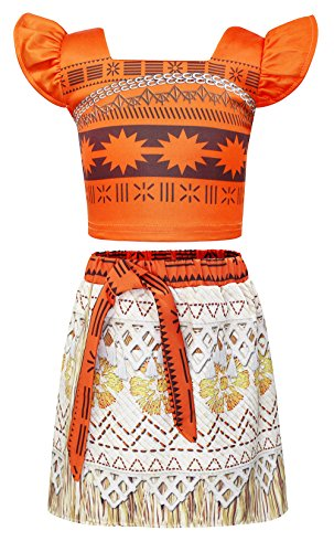 AmzBarley Girls Moana Costume Adventure Outfit Skirt Set for Toddler Kids Halloween Cosplay Party Dress up