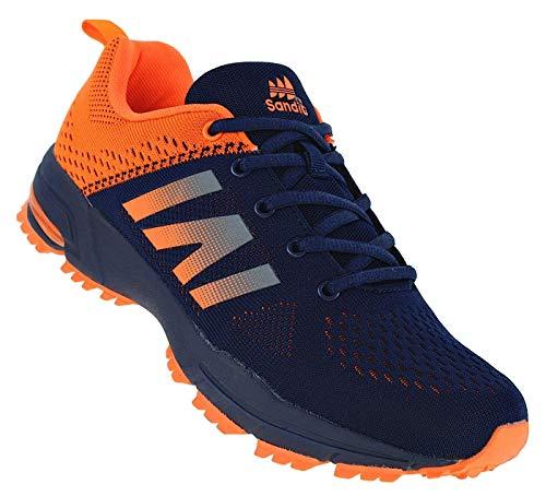 Bootsland Neon Herren Turnschuhe Sneaker Sportschuhe Laufschuhe 066, Schuhgröße:46, Farbe:Orange