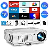 Smart LCD HD Bluetooth Projector Android 6.0, 4200 Lumen 1080P Wireless Wifi Home Cinema Video Projectors HDMI USB Ypbpr VGA Audio Out for Inside Outside 720P Wxga Movie Beamer for Laptop TV Stick APPs